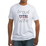 Barbed Wire Proud USN Wife Fitted T-Shirt