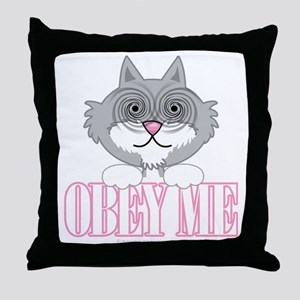 Obey-Me-Cat-blk Throw Pillow