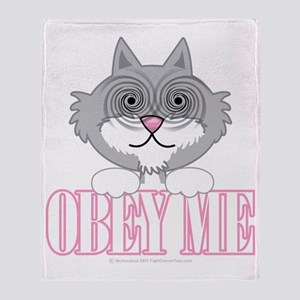 Obey-Me-Cat-blk Throw Blanket