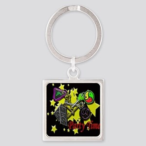 keys party sq blk glass Square Keychain