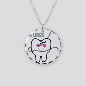 flossing tooth Necklace Circle Charm