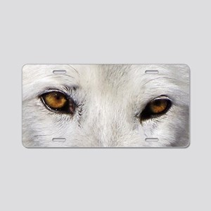 WOLF WHITE Aluminum License Plate