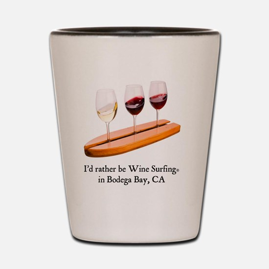 2-rather be wine surfing Shot Glass