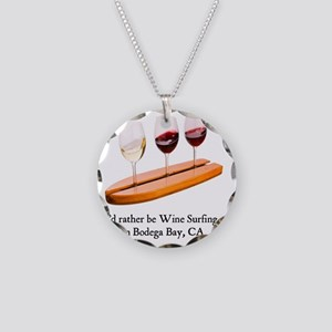 2-rather be wine surfing Necklace Circle Charm