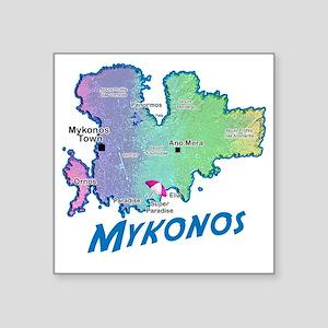 "mykonos_t_shirt_map Square Sticker 3"" x 3"""