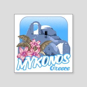 "mykonos_t_shirt_paraportian Square Sticker 3"" x 3"""