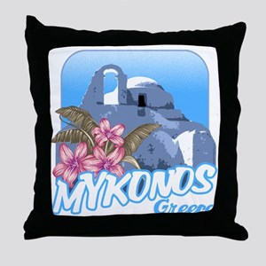 mykonos_t_shirt_paraportiani Throw Pillow