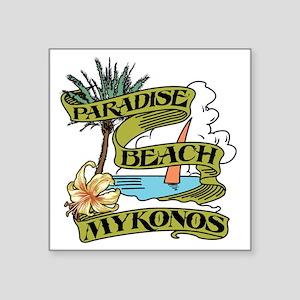 "mykonos_paradise_beach_tee Square Sticker 3"" x 3"""