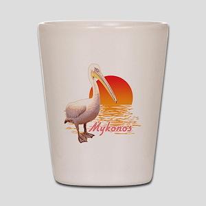 mykonos_pelican_t_shirt Shot Glass