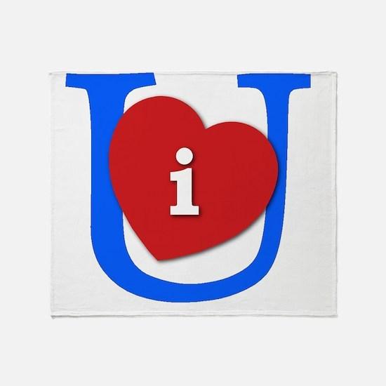 I Heart U White and Blue Throw Blanket