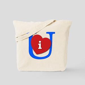 I Heart U White and Blue Tote Bag