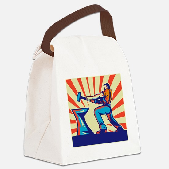 Blacksmith worker with hammer and Canvas Lunch Bag