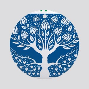 Smoking Tree Blue Round Ornament