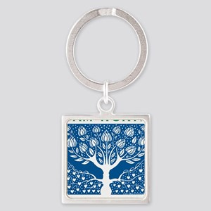 Smoking Tree Blue Square Keychain