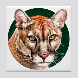 Panther Portrait Round Tile Coaster