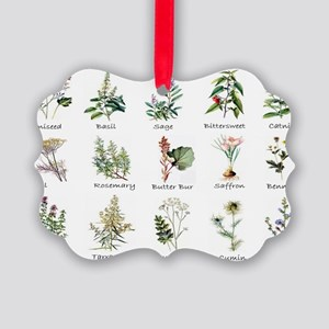 Herbs and Spices Illustrated Picture Ornament