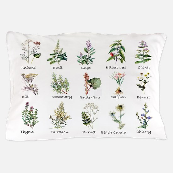 Herbs and Spices Illustrated Pillow Case