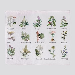 Herbs and Spices Illustrated Throw Blanket