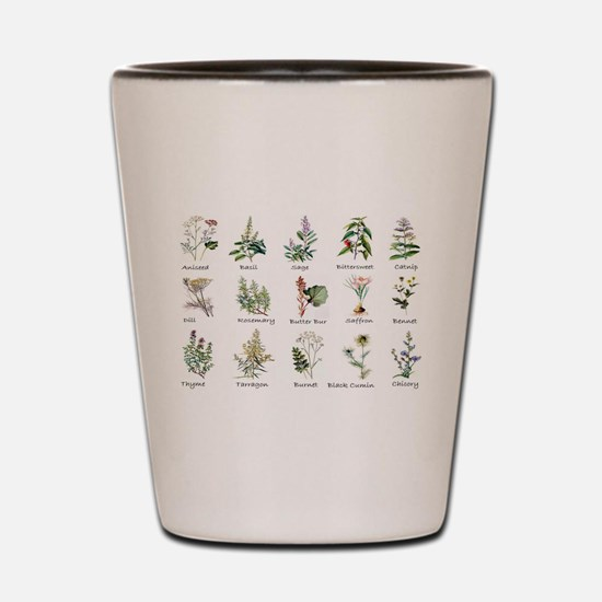 Herbs and Spices Illustrated Shot Glass