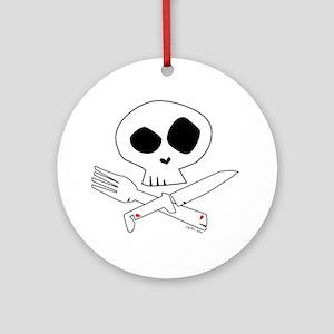 White Foodie Skull Ornament (Round)