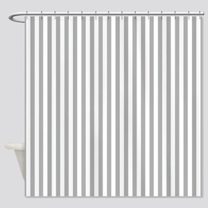Grey Candy Stripes Shower Curtain