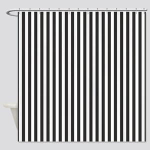 Black Candy Stripes Shower Curtain
