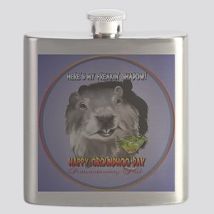 Punxsutawney Phils Shadow-Circle Flask