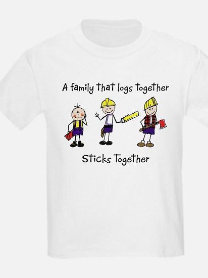Log Together Stick Together Kids T-Shirt