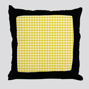 Yellow Gingham Pattern Throw Pillow