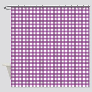 Purple Gingham Pattern Shower Curtain
