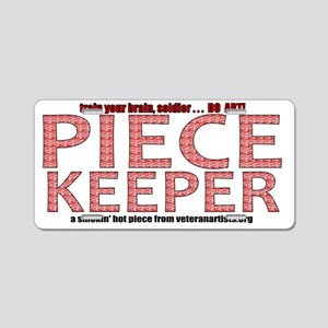 print-piecekeeper-red1 Aluminum License Plate