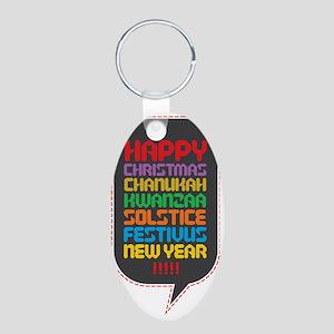 Happy... Aluminum Oval Keychain
