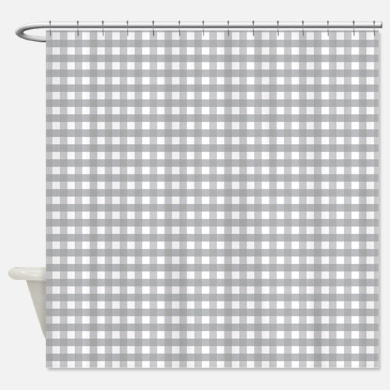 Grey Gingham Pattern Shower Curtain