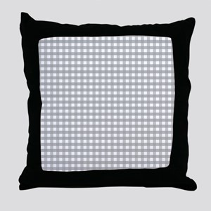Grey Gingham Pattern Throw Pillow