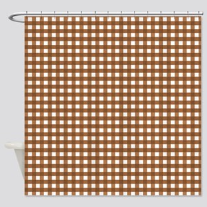 Brown Gingham Pattern Shower Curtain