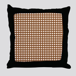 Brown Gingham Pattern Throw Pillow