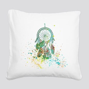 Dreamcatcher splatter Square Canvas Pillow