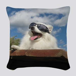 American Eskimo Dog Woven Throw Pillow
