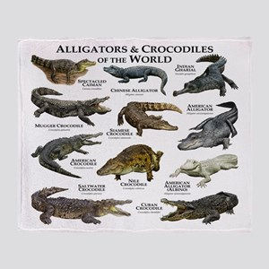 Alligator & Crocodiles of the World Throw Blanket