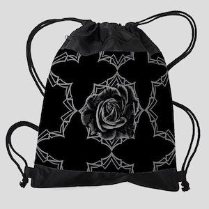 Black Rose On Gothic Drawstring Bag