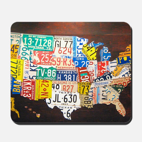 United States License Plate Map Mousepad