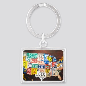 United States License Plate Map Landscape Keychain