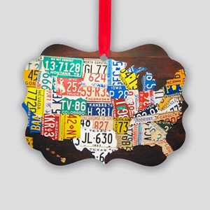 United States License Plate Map Picture Ornament
