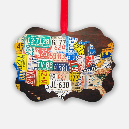 United States License Plate Map Ornament