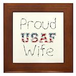 Barbed Wire Proud USAF Wife Framed Tile