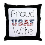Barbed Wire Proud USAF Wife  Throw Pillow
