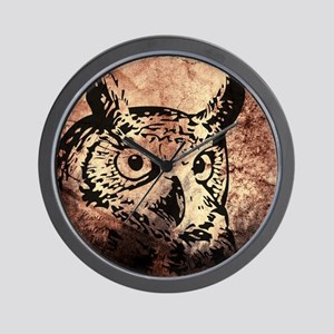 Old World Parchment Owl Wall Clock