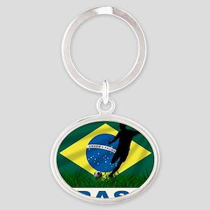 brasil soccer Oval Keychain