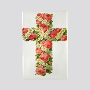 Floral Cross  73 TRANS Rectangle Magnet