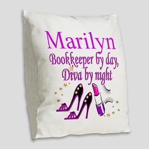 BOOKKEEPER Burlap Throw Pillow